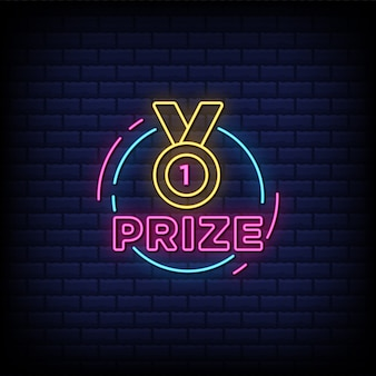 Prize neon signs style text