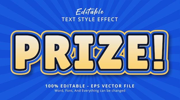 Prize text on blue and yellow color banner style, editable text effect