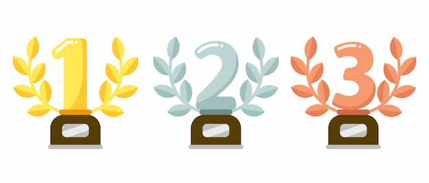 Prize trophies. golden first place cup award, silver laurel wreath and awards bronze trophies flat  illustration
