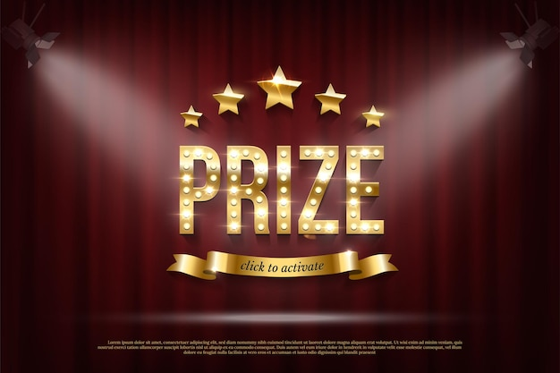 Prize winning web banner template golden typography with sparkling light bulbs shiny stars click to activate text on ribbon on curtain background