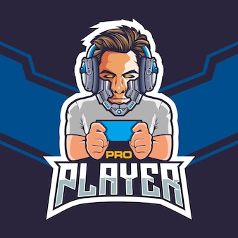 Pro esports gamer with a robot head logo design