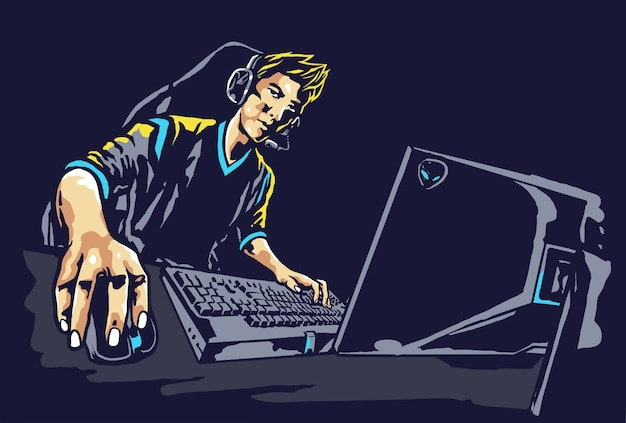Pro player e-sport gamer illustration