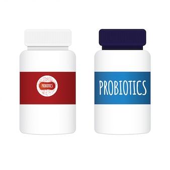 プロバイオティクスと細菌。ふた付きのボトル。モダンなプロバイオティクスのロゴグラフィックデザイン、白い背景で隔離のシンプルなフラットスタイルのトレンド。微生物の善玉菌。