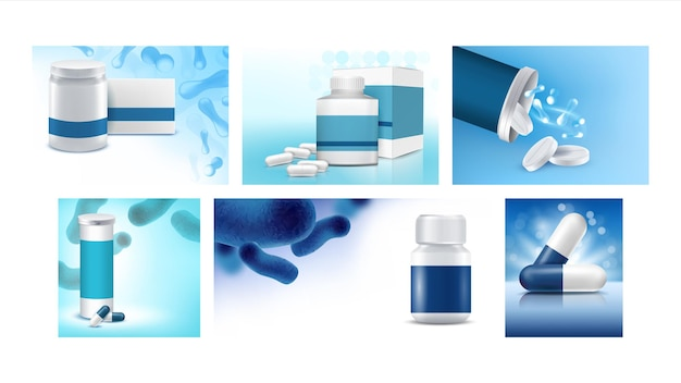 プロバイオティクスクリエイティブプロモーションポスターセットベクトル。プロバイオティクスの錠剤とカプセル、空の容器と広告バナーのパッケージ。薬治療スタイルコンセプトテンプレートイラスト