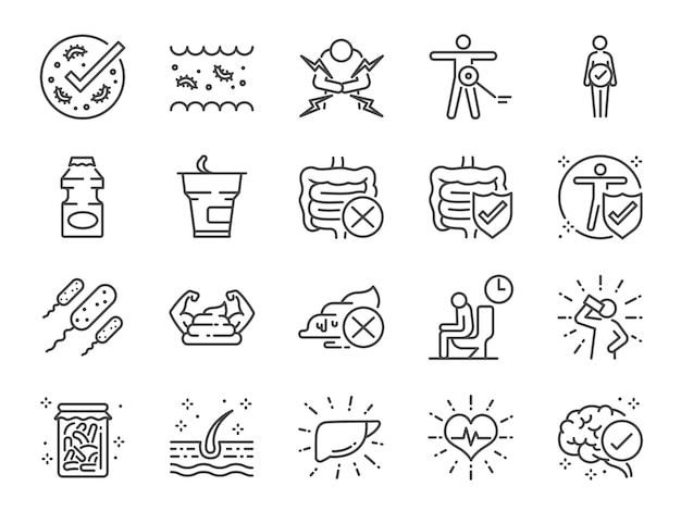 Probiotics icon set.