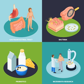 Illustrazione isometrica di concetto dei probiotici