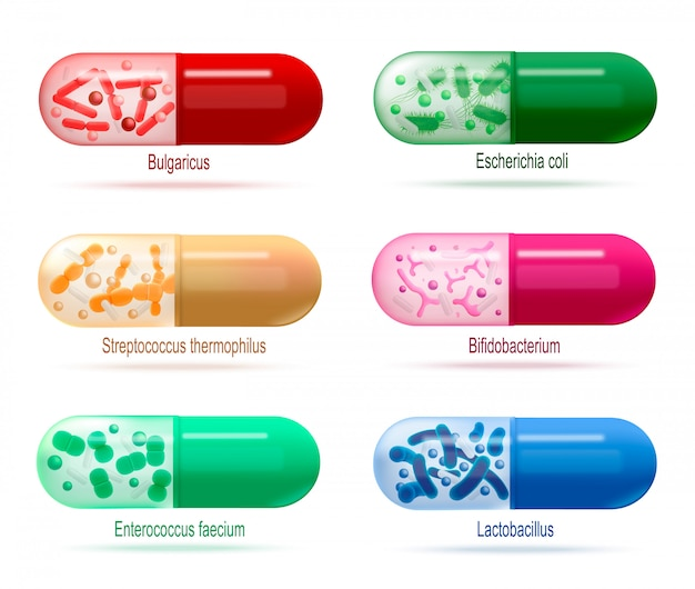 Probiotics pills with live bacteria vector set