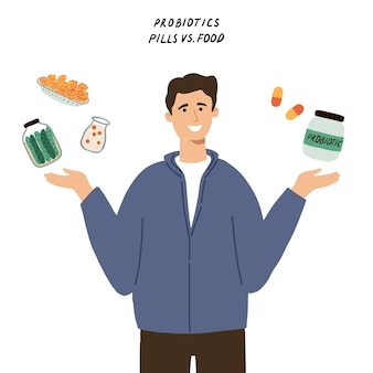 Probiotics supplement concept. man choosing between pills and food with good bacteria.hand drawn flat vector illustration