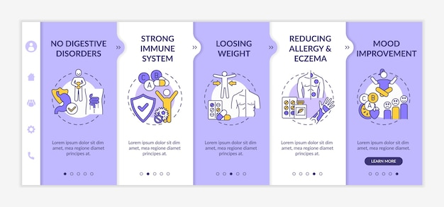 Probiotics usefulness onboarding vector template
