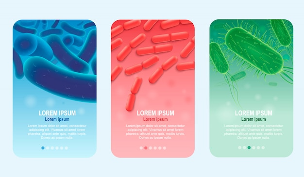 Пробиотики вертикальные реалистичные векторные баннеры набор