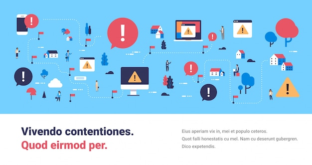Problem broken mobile computer device virus attack isometric map attention warning concept exclamation mark icon notification horizontal banner