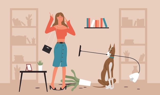 Проблема собаки домашнее животное владелец плохое домашнее животное поведение несчастная девочка ругает собаку