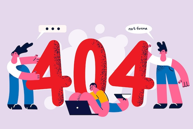 Problem and error online concept. three young business people standing and lying on huge 404 figures and web site not found in internet vector illustration