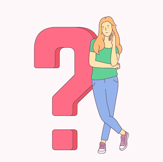 Problem, idea, brainstorm, success set concept. young woman girl is looking for solution of problem. flat