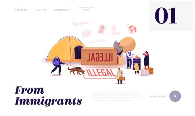 Problem of illegal immigration landing page template. adults and children characters cross border, immigration control service searching refugees living on street. cartoon people vector illustration