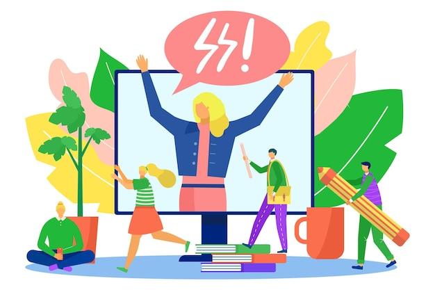 ビジネス作業の問題、ベクトルイラスト。人々は巨大なコンピューターの概念の近くでストレスを感じ、平らな女性の上司は画面に腹を立てています。チームワーカーの人は、オフィスでペン、紙のスキームを保持します。