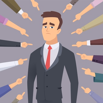 Проблемный человек, указывая на бизнесмена, стыдно виновного конфликта, глупые люди боятся концепции сотрудника