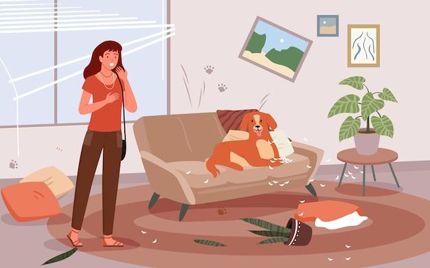 Проблема женского персонажа домашней собаки о плохом поведении домашнего собачьего щенка