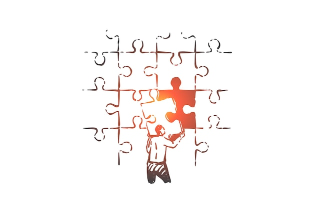 Решение проблемы, иллюстрация эскиза концепции проблемы