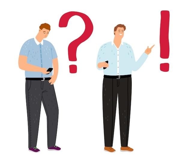 문제 해결 개념. 고민 된 남자 학생 생각, 남자는 스마트 폰에서 정보를 찾고 있습니다.