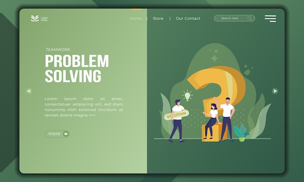 Problem solving as a teamwork on landing page template