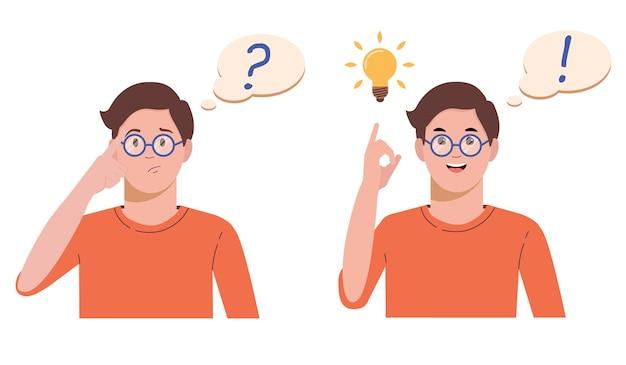 問題解決の概念。男は問題を考えて解決します。疑問符と電球。