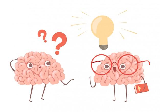 Концепция решения проблем. мультяшный мозг думает о проблеме и находит новую идею иллюстрации