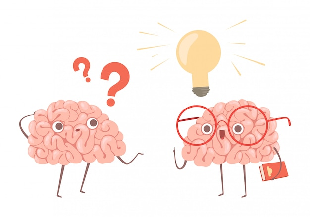 Problem solving concept. cartoon brains thinking about problem and finds new idea illustration