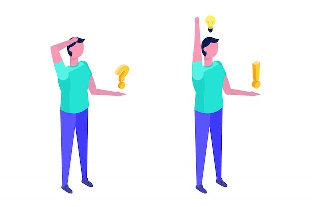 問題解決の概念。疑問符と電球のアイコンを考えて等尺性の男。