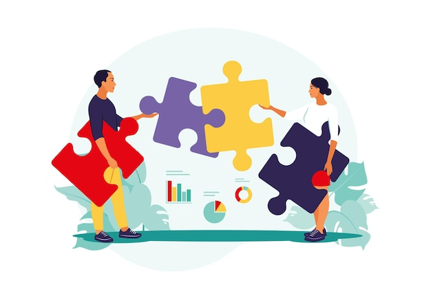 問題解決。創造的な決定、難しいタスクの概念。男と女の組み立てパズル。協力とチームワーク。