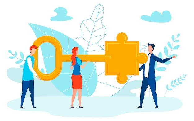 Problem solving experts flat vector illustration
