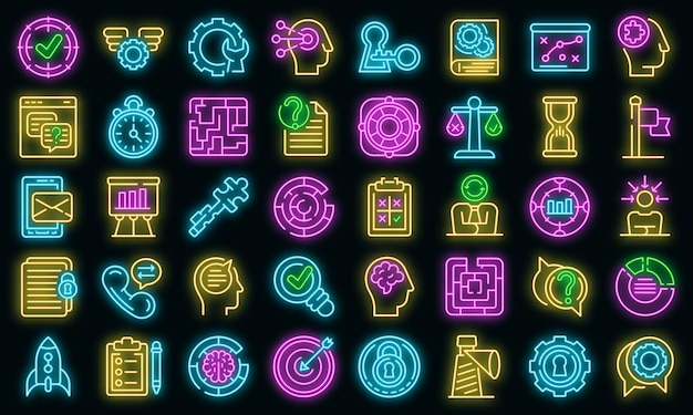 Problem solving icons set vector neon