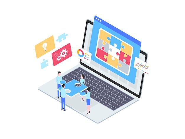 문제 해결 아이소메트릭 그림입니다. 모바일 앱, 웹사이트, 배너, 다이어그램, 인포그래픽 및 기타 그래픽 자산에 적합합니다.