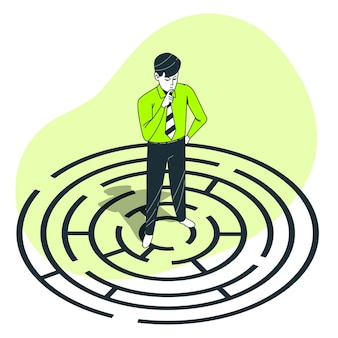 Problem solving (labyrinth) concept illustration