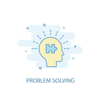 Problem solving line concept. simple line icon, colored illustration. problem solving symbol flat design. can be used for ui/ux