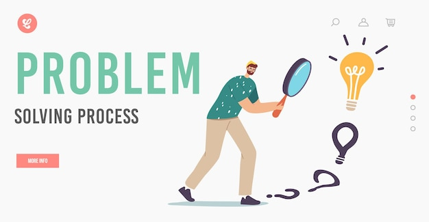 Problem solving process landing page template. male character with huge magnifier in hands finding answer walking to huge light bulb. businessman search creative idea. cartoon vector illustration