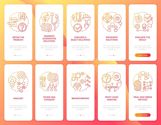 Problem solving red onboarding mobile app page screen with concepts set. evaluate the result walkthrough 5 steps graphic instructions.