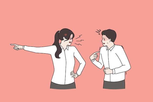직장에서의 문제, 발사, 발로 개념. 화가 난 여자 보스는 화가 난 벡터 삽화를 손가락으로 들고 문을 보여주는 스트레스를 받는 두려운 남자 직원에게 소리를 지르며 서 있다
