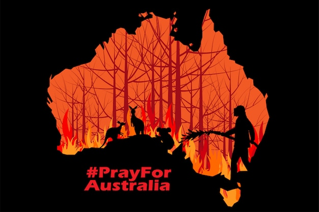 Problems forest fire in australia illustration