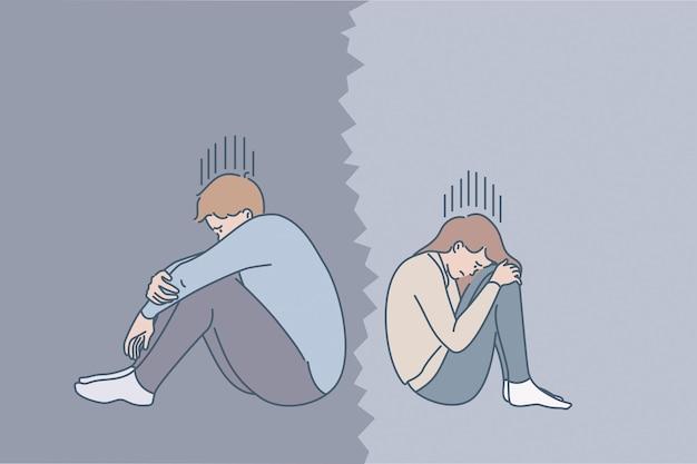 부부 관계 개념의 문제. 슬픈 우울한 젊은 부부는 벡터 삽화를 분리하는 나쁜 관계를 가진 외로운 느낌으로 연속해서 앉아 울고 있다