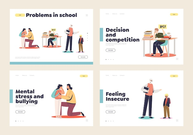 Problems in school set of landing pages with concept of violence, abusing, bullying and pressure to school kid and little children during classes. landing page