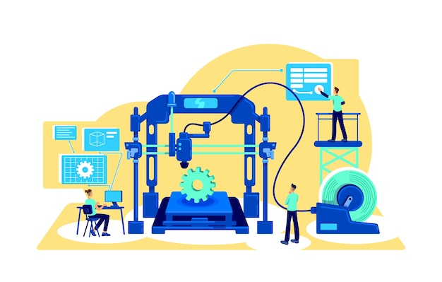 Process automation flat concept . digitalization of factory machinery. digital transformation. manufacture 2d cartoon characters for web design. automatization creative idea