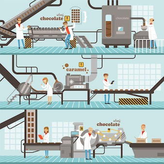 Process of caramel and chocolate production set of horizontal colorful banners chocolate factory colorful detailed  illustrations