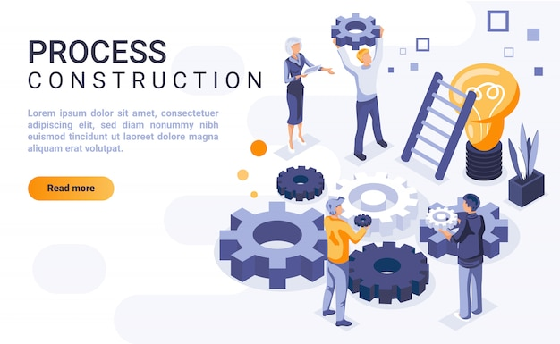 Process construction landing page banner  with isometric illustration