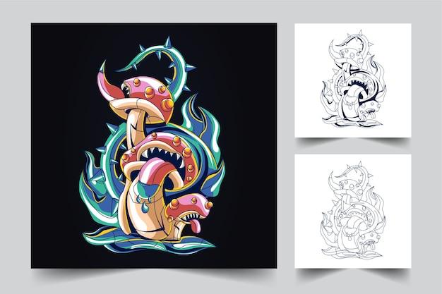 The process of creating a mushroom monster logo