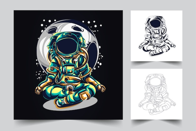 The process of creating a yoga astronaut logo