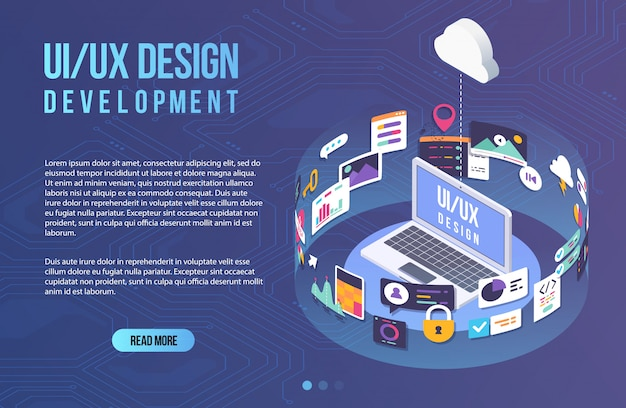 The process of developing interface for laptop. flat design template for mobile app and website design development with included ui ux elements.