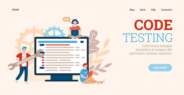 Process of development and code testing of software web sites or applications
