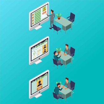A process of employee recruitment by an hr manager isometric illustration