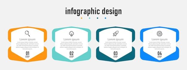 Process flowcharts infographic elements step 4 business template design